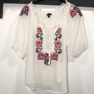 Romeo & Juliet • Sheer floral embroidered top